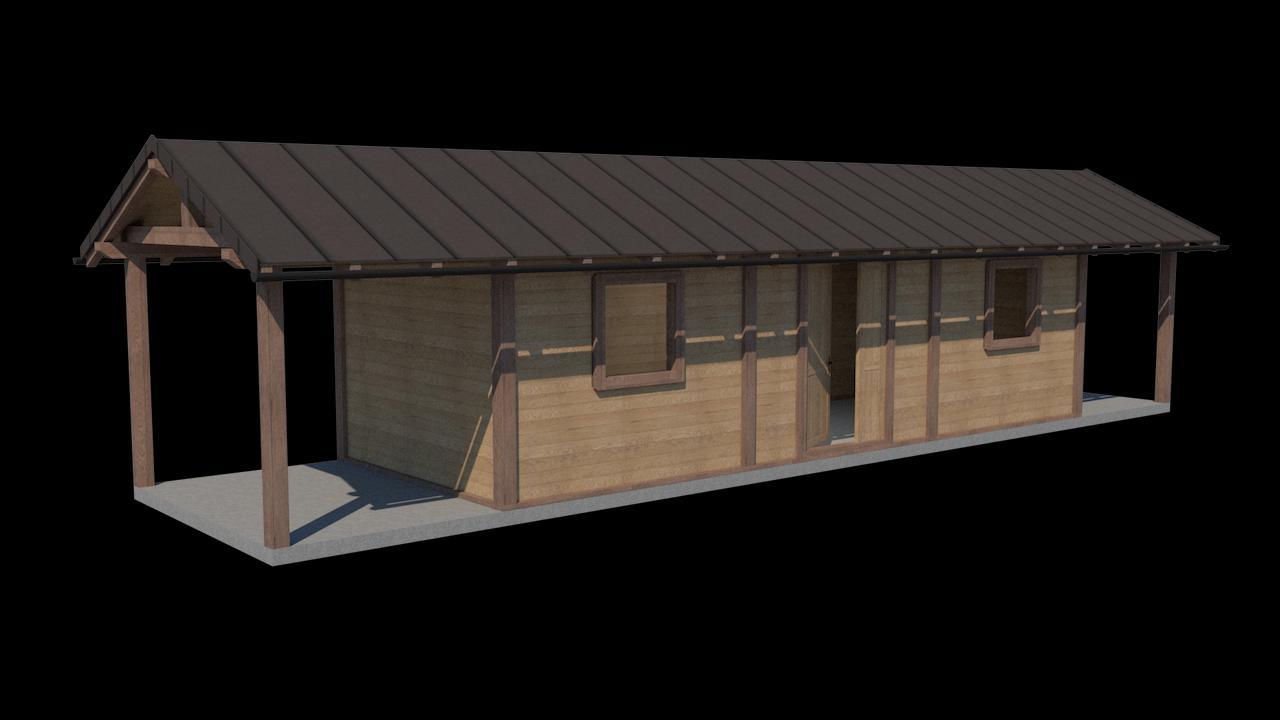 Vizualizácia záhradnej chatky