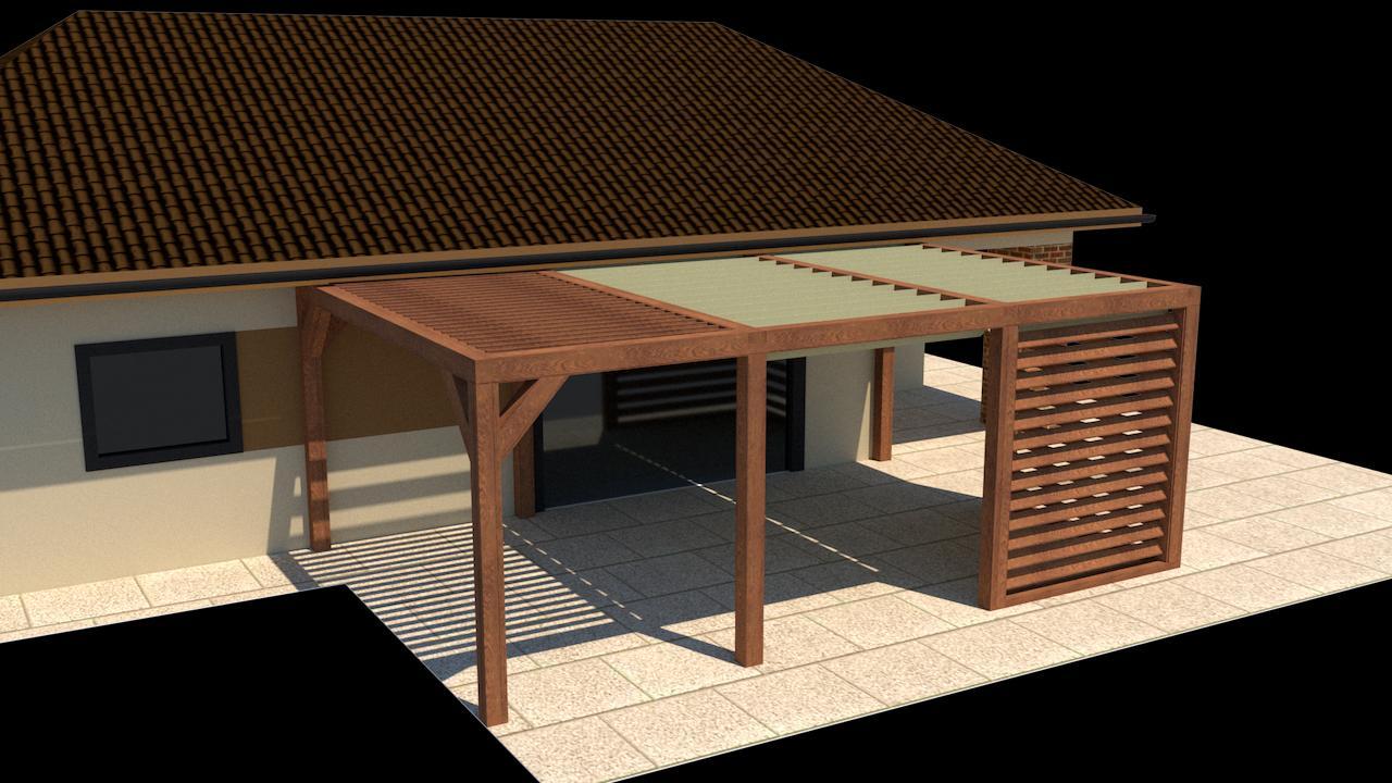 Vizualizácia prestrešenia terasy